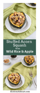 Collage of Baked Acorn Squash halves stuffed with wild rice and apples sitting on a green napkin with small bowls of rice, nuts and craisins behind.