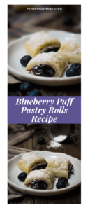 Pinterest collage showing a close up of puff pastry rolls on a white plate on the top and 3 rolls on a wooden background and powdered sugar spilled in the back of the photo