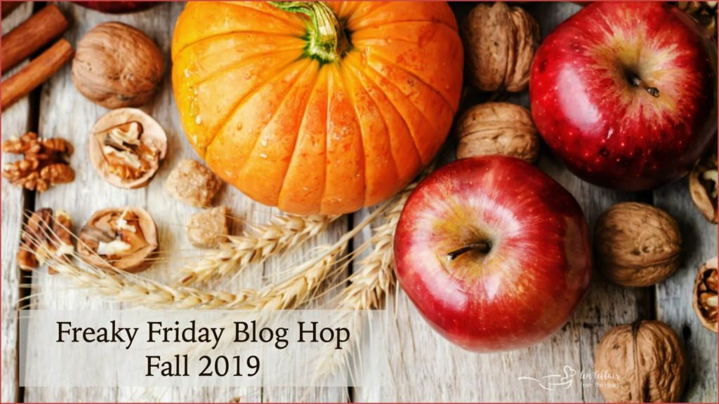 Top photo of a pumpkin, apples, and walnuts announcing the Freaky Friday Blog Hop