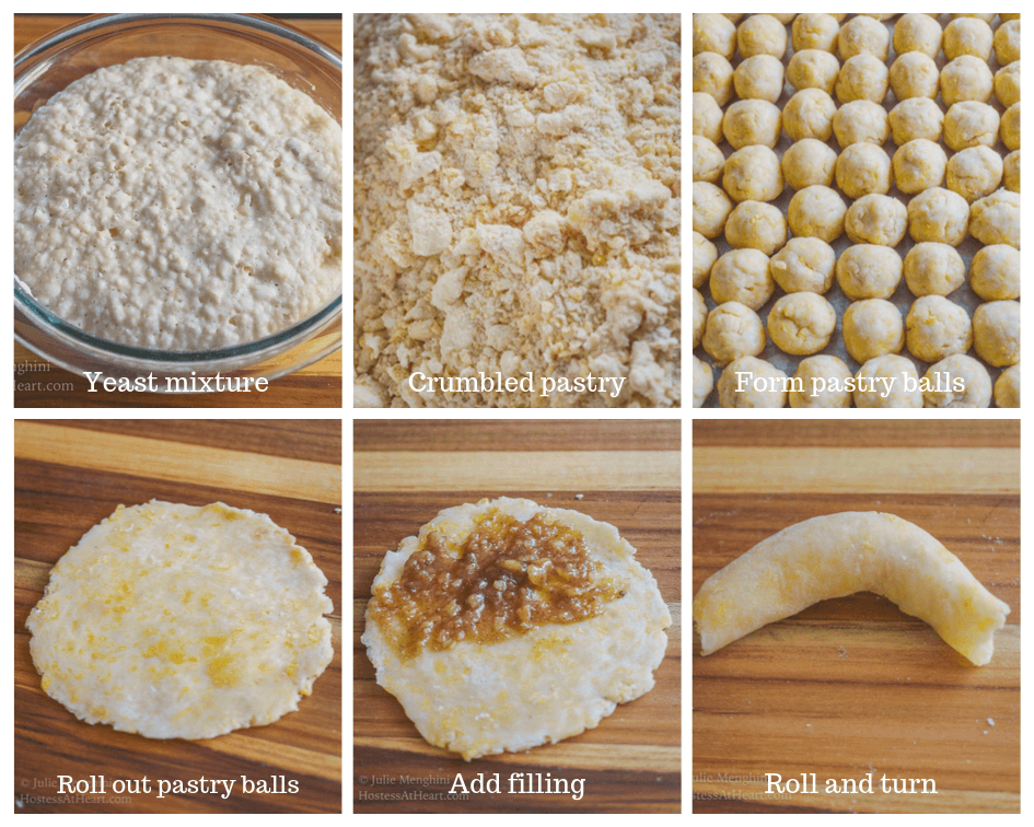 6 steps to making nut rolls including yeast mixure, crumbly pastry, pastry balls, pastry rolled out, pastry filled, pastry formed