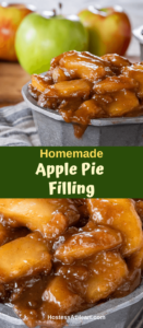 Two photo collage of brown sugar cinnamon apple pie filling in metal bowls. The top photo has fresh apples sitting behind it.