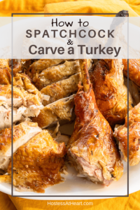 Cut up turkey on a white platter over a gold napkin with the title at the top.