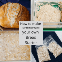 4 photo collage showing a baked loaf, thick levain, bubbly levain, and dehydrated starter.