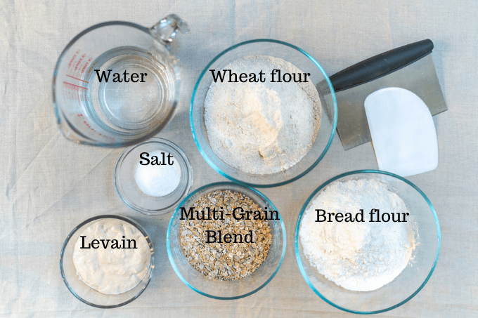 Top angle of the ingredients in a loaf of Multi-Grain Wheat Bread