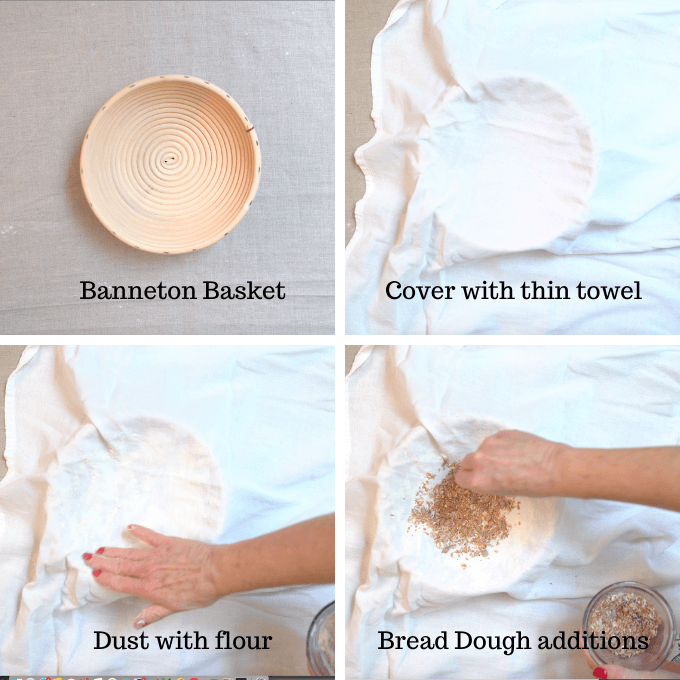 A 4 photo collage explaining how to shape bread dough including a banneton basket, covering the basket, dusting it with flour and including any additions in the bottom of the basket such as seeds.