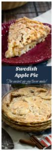 Two photo collage of a slice of apple pie on a red plate above a whole pie
