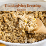 A white dish full of Thanksgiving dressing with a wooden spoon dipped into it. The title sits across the top.