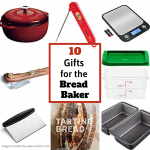 Collage photo of supplies for a bread baker. The supplies include a red dutch oven, thermometer, scale, lame, loaf pans, plastic dough bin, and a dough scraper.