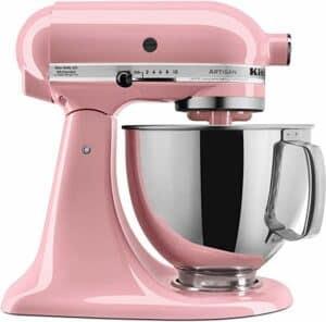 Photo of a pink kitchenaid mixer.