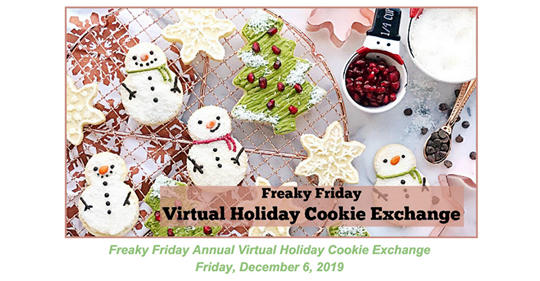 Announcement for Holiday Cookie Exchange containing santas and sugar cookies