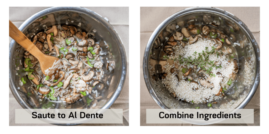 side by side photos of an instant pot. The left is sauteed vegetables and the right is the remaining ingredients added.