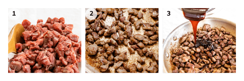 collage of the steps to make lamb bites. 1. mix seasoning with lamb 2. brown meat 3 add glaze.