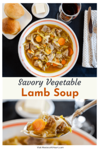 A two photo collage of Top down photo of a bowl of vegetable lamb soup in a white bowl sitting on a black placemat. A plate of bread and butter sit behind it and a photo of the soup on a spoon.