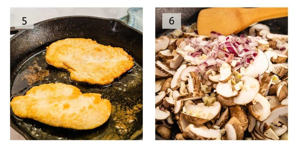 Two Photo Collage of chicken cutlets browning in a cast iron skillet and a pan full of mushrooms, red onions and garlic browning in the cast iron pan.