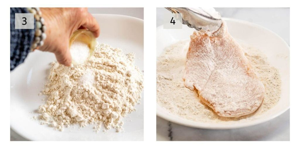 Two photo collage showing flour being seasoned and the other one is chicken breasts being dredged in the flour.