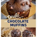 2 photo collage with a single chocolate muffin dotted with chocolate chips in the top photo over a photo showing three muffins top down view on a sheet of parchment paper on a wooden cutting board..