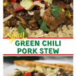 """Close up angle view of a white plate layered with a green tomatillo rice topped with chunks of pork, tomato, avocado and cilantro with the title banner """"Green Chili Pork Stew"""" running through the middle."""