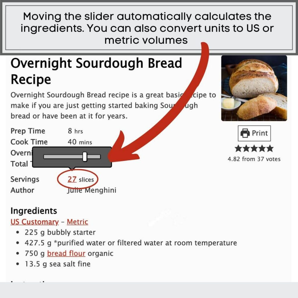 A photo showing how to adjust the serving size of the recipe to adjust the ingredient calculations.