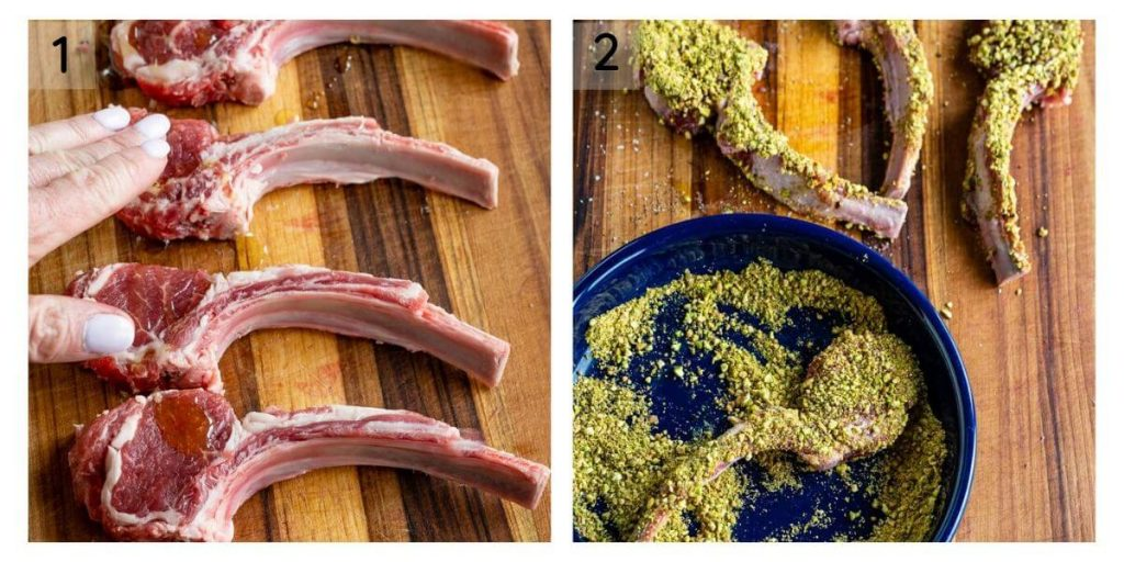 a two photo grid of oil being rubbed on raw lamb chops sitting on a wooden cutting board and a photo of a blue bowl holding a lamb chop dredged in pistachios with 3 chops sitting behind it.
