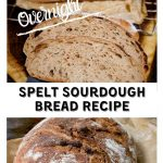 A two photo collage for Pinterest. The top photo shows slices of spelt sourdough bread in front of the loaf. The bottom photo is an uncut loaf of spelt bread with a crusty brown exterior sitting on a piece of natural parchment paper. The title banner runs through the center.