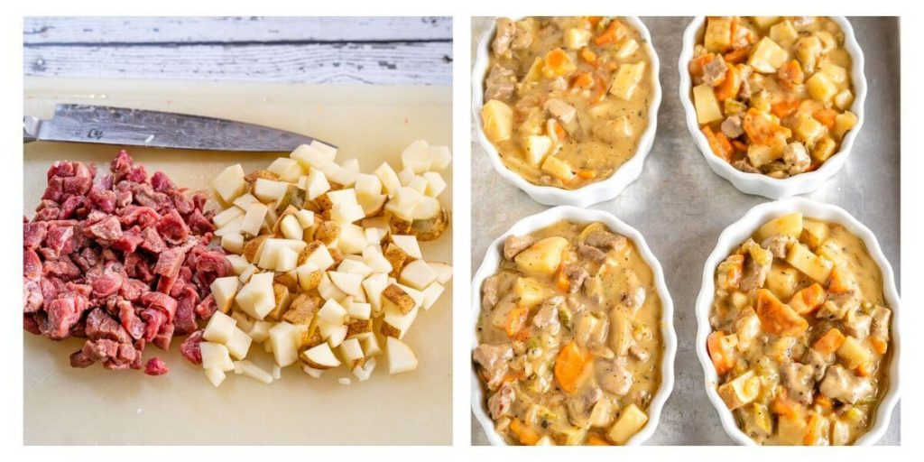 Two photo grid. First photo shows chopped potatoes and pieces of lamb cut the same-sized. The second photo is lamb and vegetable filling in white ramekin dishes sitting on a baking sheet.