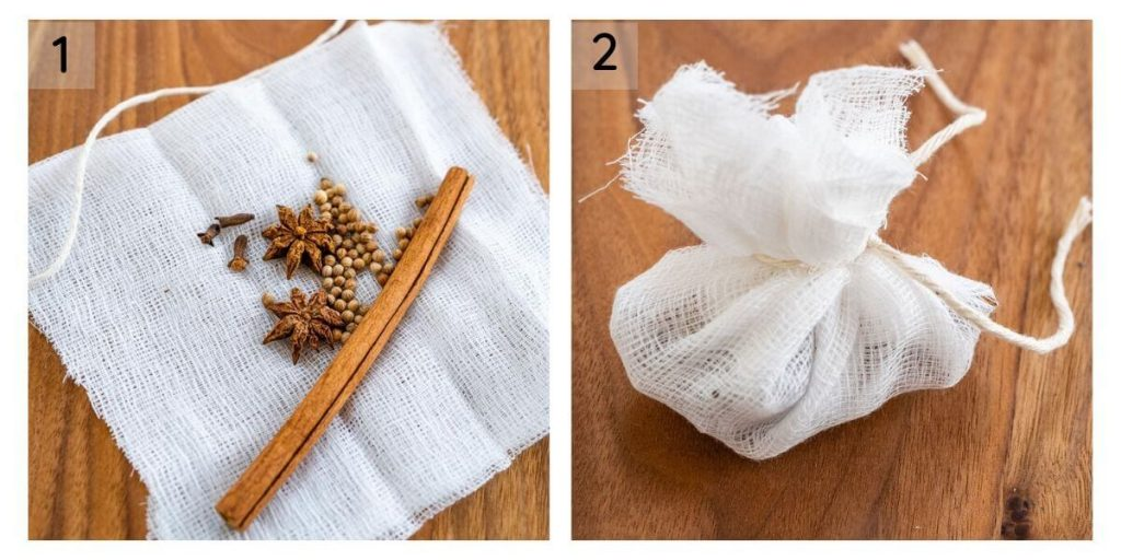 Two photo collage showing spices in the center of a piece of cheescloth in the first photo and tied into a satchel in the second photo.