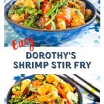 Two photo collage of shrimp stir fry. One from and angled position and the other a side view. They're in a blue bowl on a blue and green floral napkin. A pair of chop sticks sit next to the bowl.