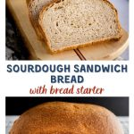 Two photo collage with the title Sourdough Sandwich Bread running through them. The top photo is 3 slices of bread on a cutting board and the bottom photo is of a whole loaf sitting on a cooling rack.