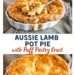 2 top down view of ramekin dishes holding Lamb Pot Pies topped with a golden puff pastry crust sitting on a green striped napkin with an antique spoon and fork sitting next to the dish in one photo and dipped into the ingredients in the other. The title banner separates the 2 photos.