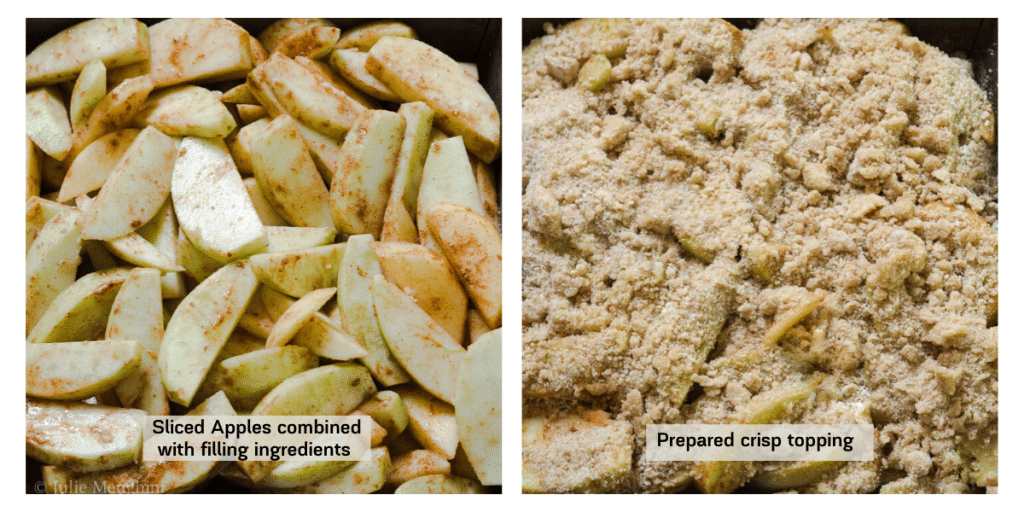 Two photo collage. 1st is sliced apples with a mix of cinnamon and sugar mix and the second is the prepared crisp topping spread over the apples.