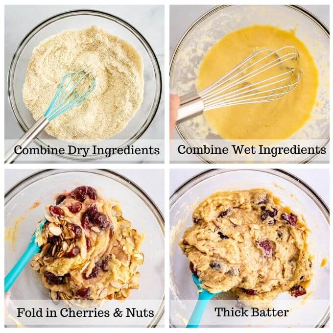 A 4 photo grid of the process of mixing cherry almond muffins 1. mixed dry ingredients 2. combined wet ingredients 3. fold in fruit and nuts 4. thick batter
