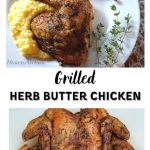 Two photo collage separated with a center title. First photo is a top down view of a grilled chicken quarter laying on a bed of polenta on a white plate with a garnish of fresh thyme second is a full chicken that has been flattened and grilled.