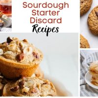 A collage of recipes that Sourdough Starter is used in including cookies, muffins, and pancakes. The title