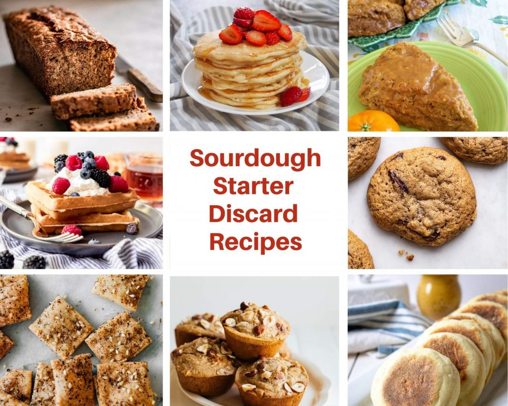 Recipe photos for sourdough starter discard including crackers, muffins, english muffins, cookies, waffles, banana bread, pancakes & scones.