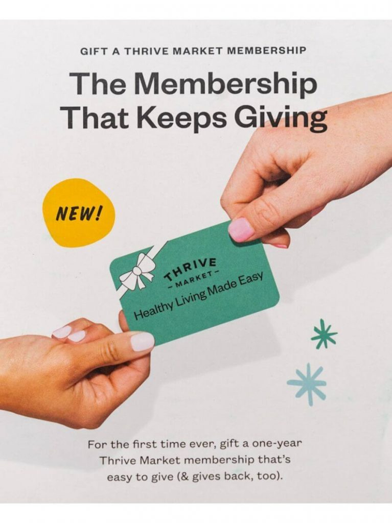 A top down view of a Thrive Market Gift Card