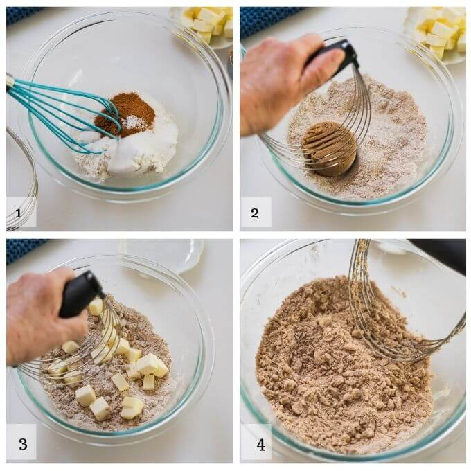 4 steps to make the crumble that goes over peach filling. 1. combine sugar, flour, cinnamon and salt. 2. Cut in brown sugar. 3. Cut in cold butter. 4. Is an image of what the crumble should look like.