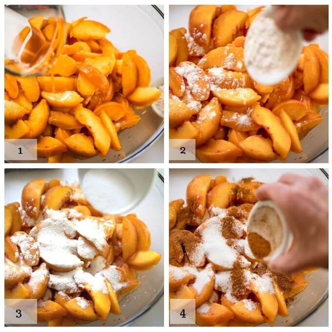 4 photo grid of how to mix the peach filling for the peach crisp. 1. add apple juice to the sliced apples. 2. add flour, 3. add sugar. 4. add cinnamon.