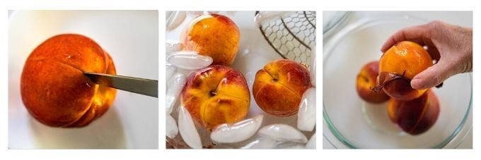 Top down 3-photo grid of how to remove peach skin. 1. Score the peach skin and the boil peaches for 30 seconds. 2. Place in a ice bath for 10 seconds. 3. Slide the skin off.