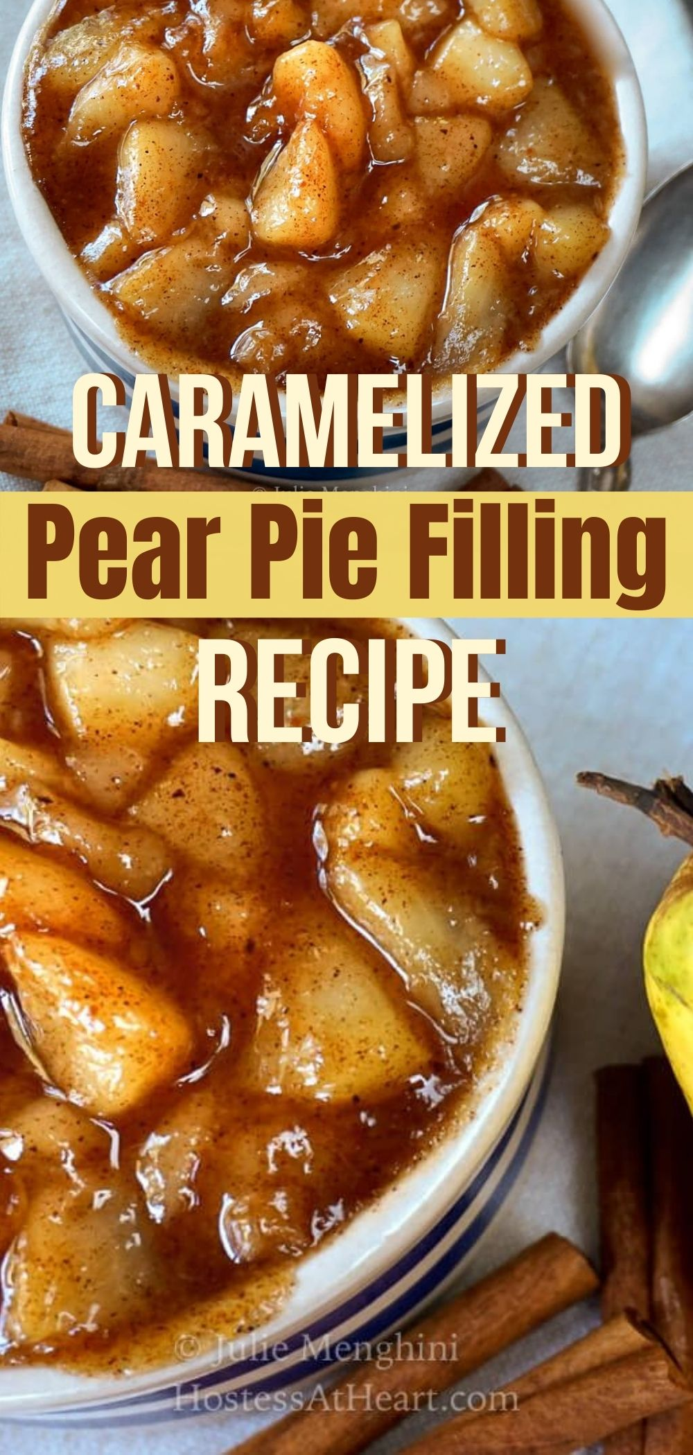 Two photos for Pinterest of dishes of pear pie filling.