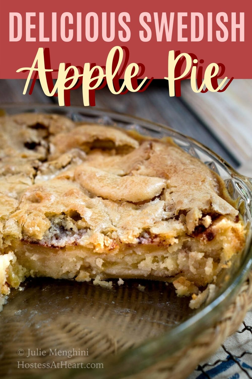 An apple pie with a slice missing