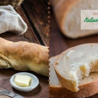 "A two photo collage. The left photo is half of a loaf of Italian Bread on a wooden cutting board. A pad of butter in a white dish sits next to the bread with a grey linen napkin in the background. The photo on the right is a stack of sliced Italian bread. The top piece has a bite taken out of it. The cut loaf is in the background. The title ""Italian Bread Recipe"" is on the top right."