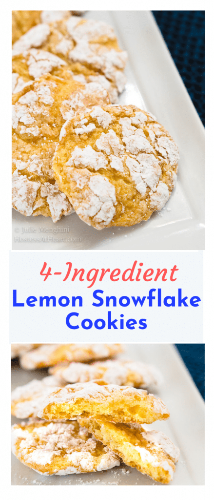 "Two photo collage for Pinterest with the title ""4-Ingredient Lemon Snowflake Cookies"" running through the center. The top photo is a top-down photo of Lemon Snowflake cookies on a white plate. The bottom photo shows a cookie broken open showing a soft center."