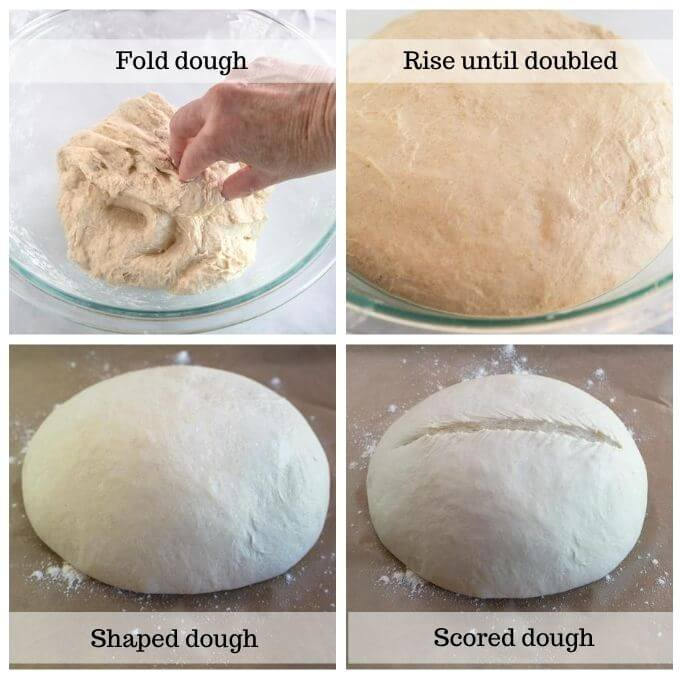 4 grid photo of folding the dough, proofed dough in a bowl, round shaped dough, and the scored round dough loaf.