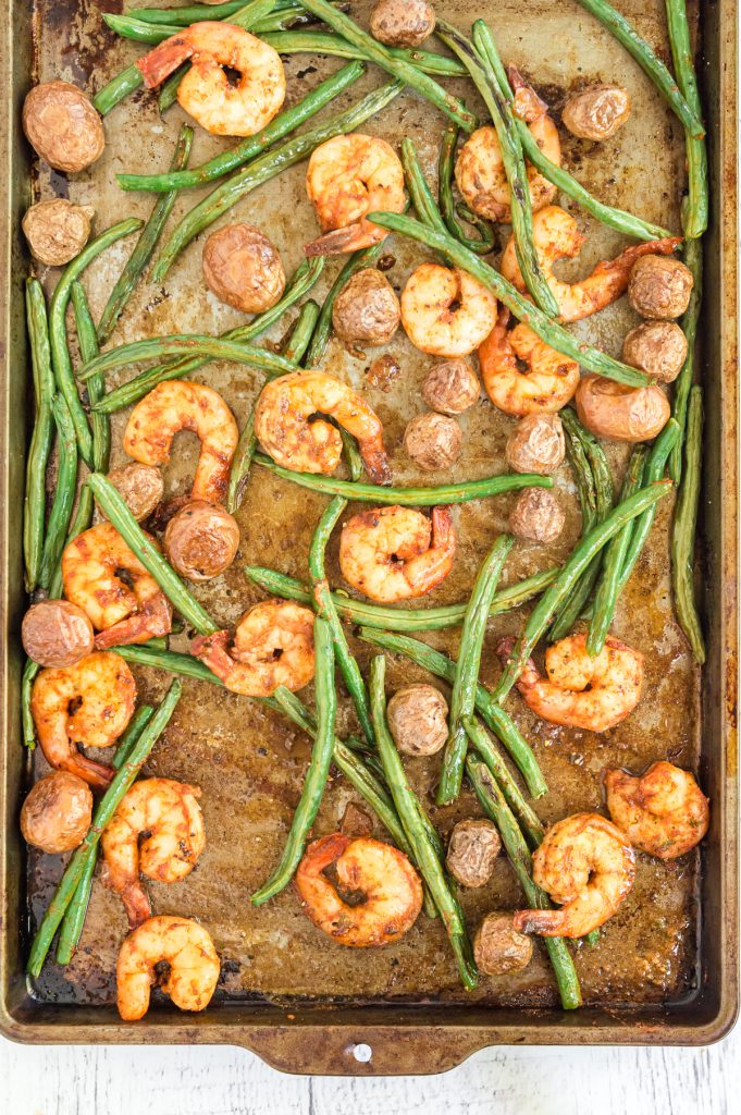 Tray of Cooked Sheet pan shrimp