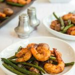 Shrimp and green beans on buffet table