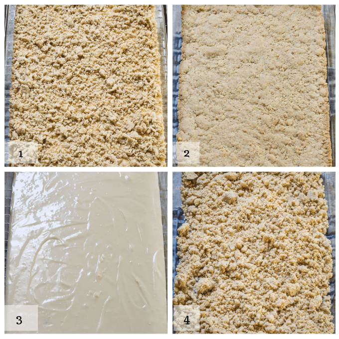 4 picture grid of making cheesecake cookie bars. 1. make cookie layer 2. bake cookie layer 3. top with cheesecake layer 4. top cheesecake with cookie crumble