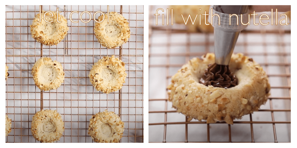 Two photo collage of cooling Hazelnut Thumbprint cookies and of a cookie being filled with Nutella with a piping bag.