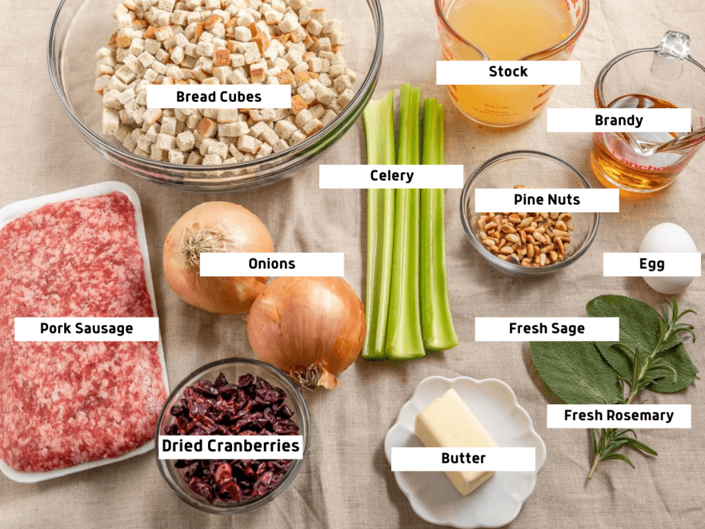 Top down photo of the ingredients used in a turkey roulade recipe including ground pork, onions, dried cranberries, butter, celery, bread cubes, pine nuts, egg, turkey stock, brandy, fresh rosemary and sage.
