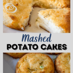 Two photo collage for Pinterest. Top photo is a potato cake that's been cut open showing the soft center. The bottom photo is potato cakes sitting on a gray plate garnished with sliced green onions.