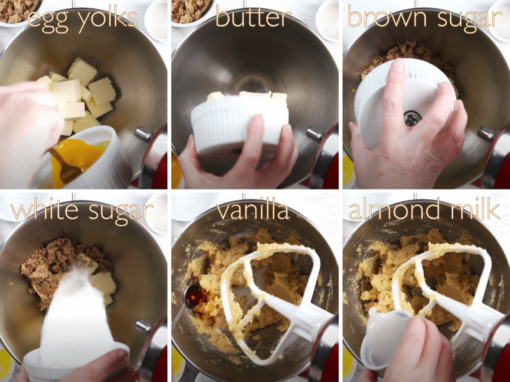 6-photo collage of mixing the wet ingredients including egg yolks, butter, brown sugar, white sugar, vanilla, and almond milk.